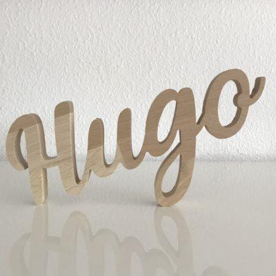 Hugo navneskilt træ fræset