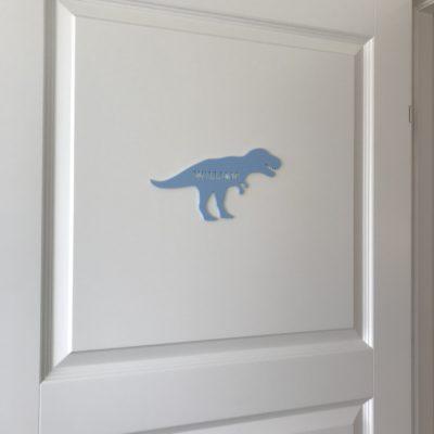 T-rex navneskilt i lyseblå