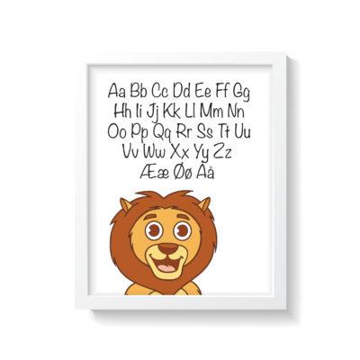 løve plakat med alfabet i hvid ramme