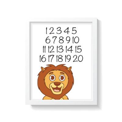 Løve plakat i hvid ramme