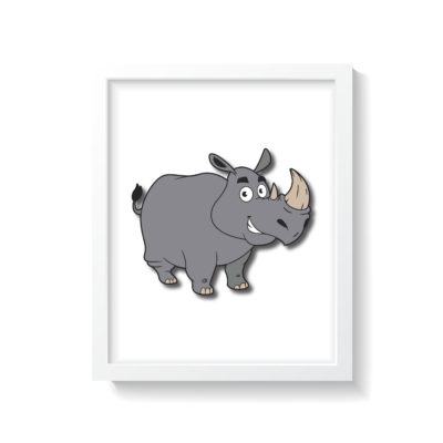Unik designet næsehorn børneplakat