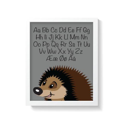 grå pindsvin plakat med alfabet