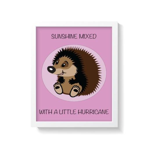 lyserød pindsvin børneplakat