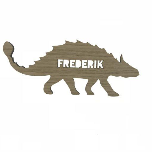 Dino Ankylosaurus navneskilt - træ - til baby