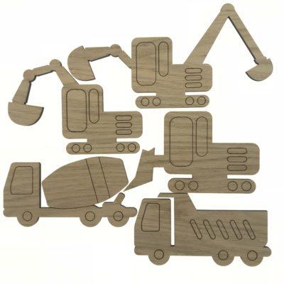 Maskiner sæt af 5 stk, bulldozer, gravko, lastbil, betonblander og minigraver