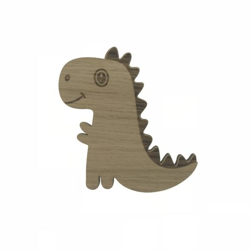 Baby t-rex dino i egetræsfiner til baby værelse