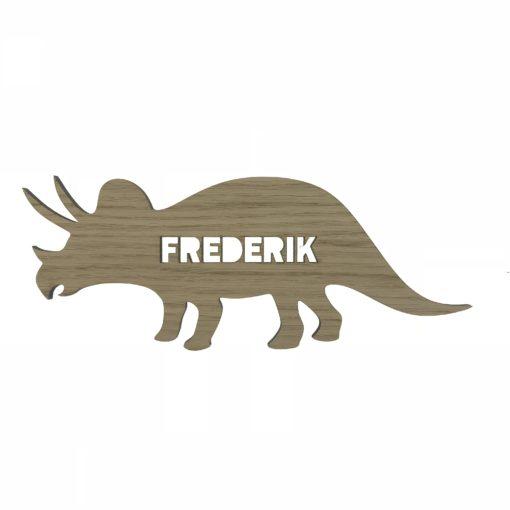 Dino triceratops navneskilt - træ - til baby værelset