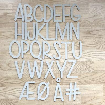 Alfabet grå A-Å bogstaver akryl