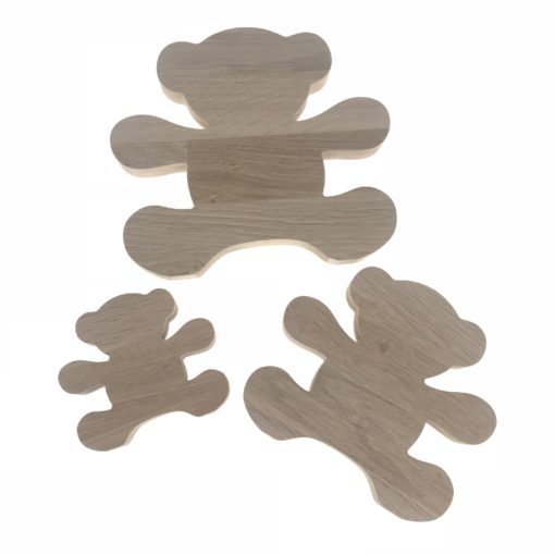 Bamse familie, far, mor og barn - 18 mm egetræsfigur