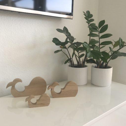 Dansk design træfigurer hvaler - egetræ