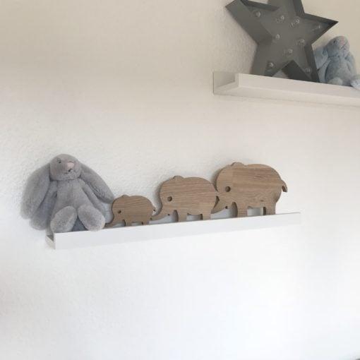 Elefanter 3 stk. skåret i 18 mm egetræ