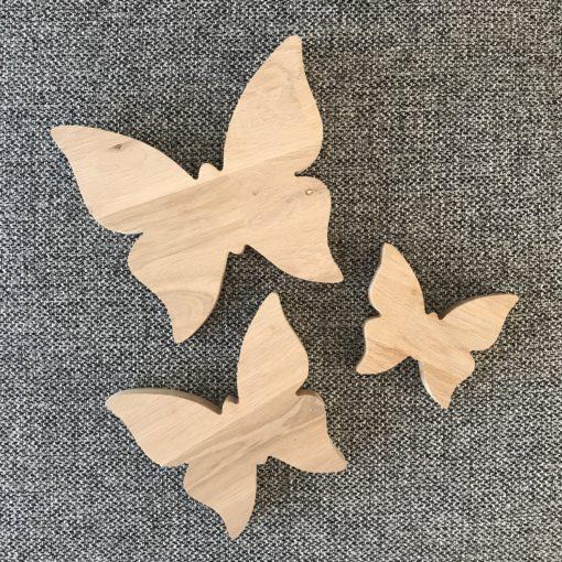 Sommerfugle sæt af 3 stk skåret i 18 mm egetræ