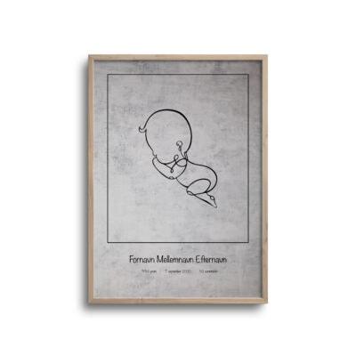 fødselsplakat med lys baggrund