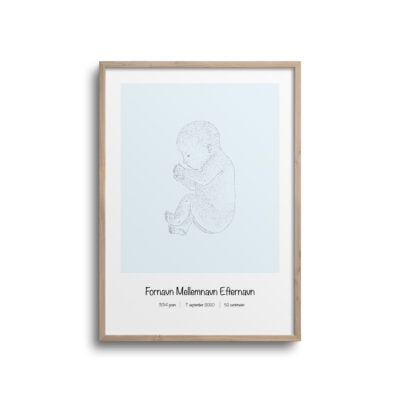 fødselsplakat med blå baggrund