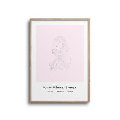 fødselsplakat med pink baggrund