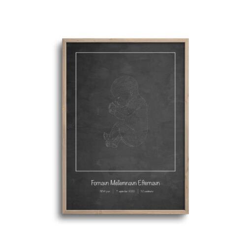 fødselsplakat med mørk baggrund