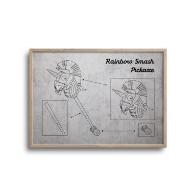 gamer blueprint plakat i moderne design rainbow smash pickaxe