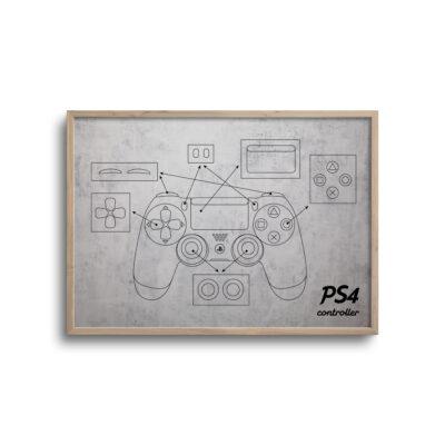 gamer blueprint plakat i moderne design ps4 controller