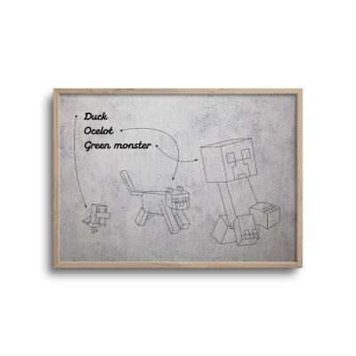 gamer blueprint plakat i moderne design minecraft monster