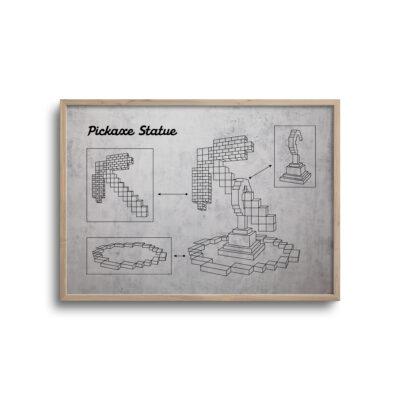 gamer blueprint plakat i moderne design pickaxe statue