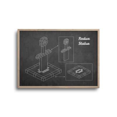 gamer blueprint plakat i moderne design redux statue