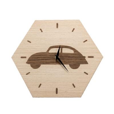 sekskantet vægur med bil