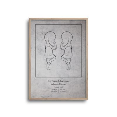 fødselsplakat tvilling lys baggrund