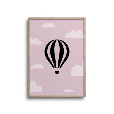 luftballon plakat med pink baggrund