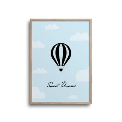 luftballon plakat sweet dreams med blå baggrund