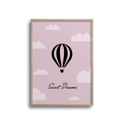 luftballon plakat sweet dreams med pink baggrund