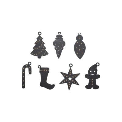 julepynt sæt stilrent julepynt i sort skåret i træ