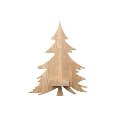 Væghængt lysestage - juletræ i egetræ