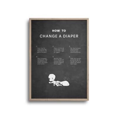 how to change a diaper plakat sjov og hyggelig mørk baggrund