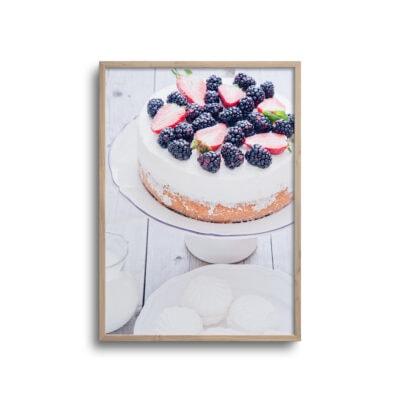 plakat af kage på kagefad og mælkekande