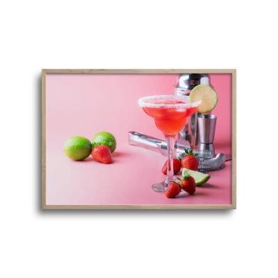 flot rød drink plakat med tilbehør