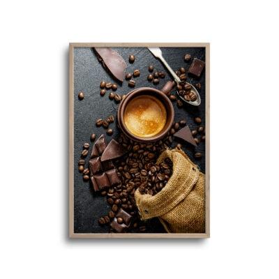 flatlay plakat af kaffenønner og chokolade