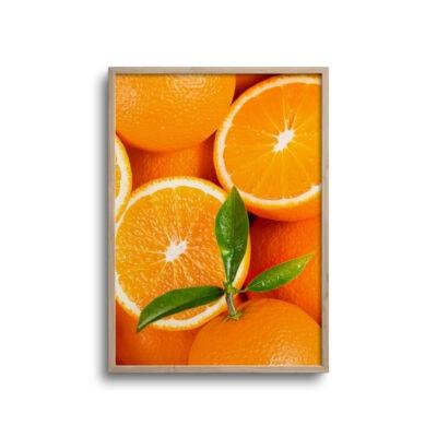 plakat med appelsiner set tæt på