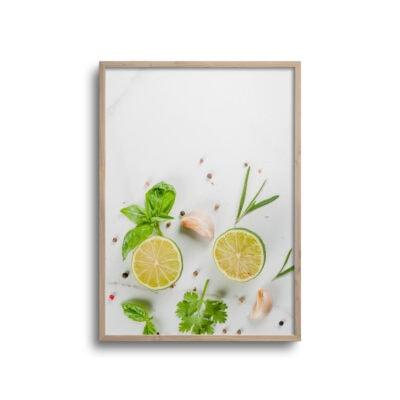 flatlay plakat med lime og hvidløg