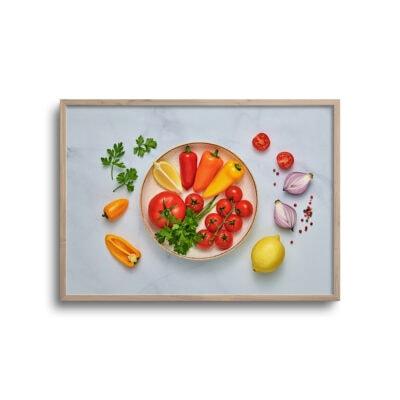flatlay plakat med mad på tallerken