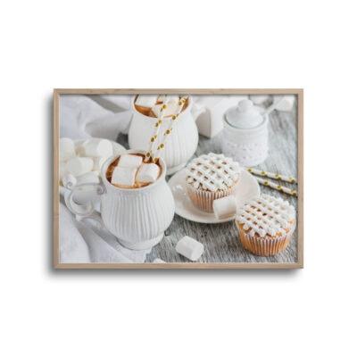 plakat af kaffe og kage på bord
