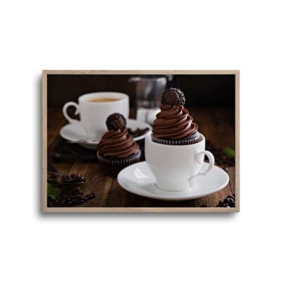 plakat af kage og kaffe på et bord