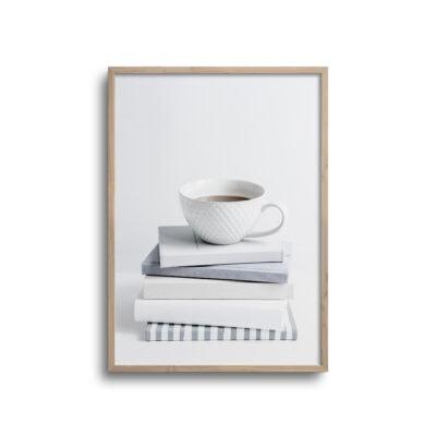 bøger og kaffe plakat i lyse farver