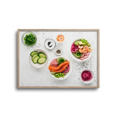 flatlay plakat af mad på et bord