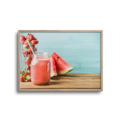 plakat af smothie drik jordbær og vandmelon