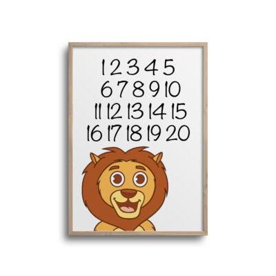 Løve tal 1-10 plakat