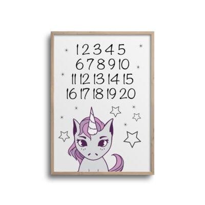 Enhjørning tal plakat til læring