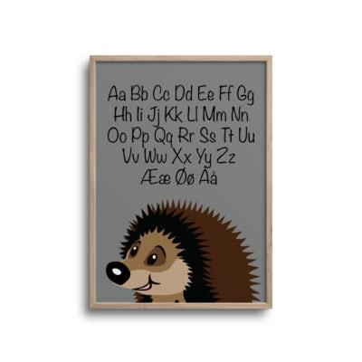 Pindsvin alfabet plakat i grå