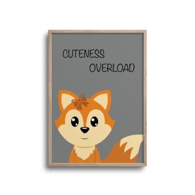 Ræv cuteness - grå plakat