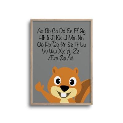 Egern ABC alfabet plakat - grå
