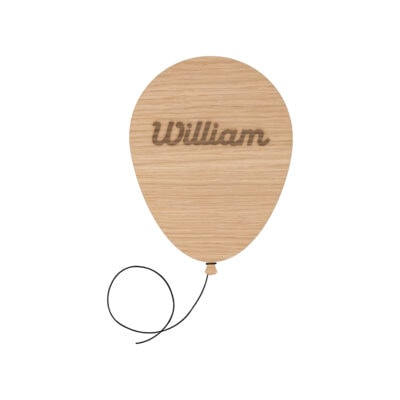 Navneskilt formet som en ballon